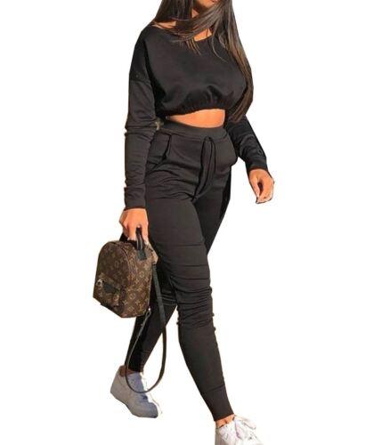 Ladies Crop Top Loungewear Suit Set Womens Jogging Style Trouser Tracksuit Set