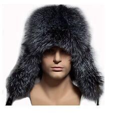 Valpeak Mens Winter Hat Real Fox Fur Genuine Leather Russian Ushanka Bomber Hats
