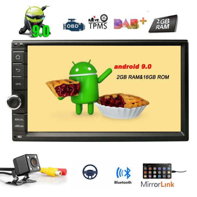 "7"" 2 Din Android 9.0 Car Stereo GPS WiFi OBD2 Head unit Radio DAB+ USB Camera"
