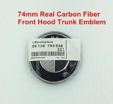 74mm Real Carbon Fiber Hood Trunk Emblem Badge for BMW E60 E61 E46 E90 E93 E39