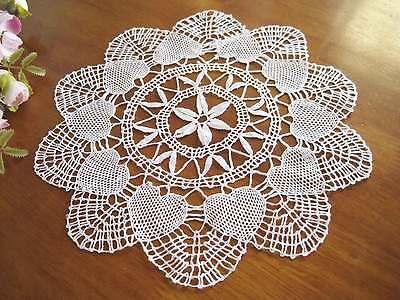 Vintage Heart Shape Hand Bobbin Lace Cotton White Doily