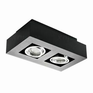 Del Plafond Shop Display Lampe 2 Spot Coffret Surace Monté Noir élégant Inclinable-afficher Le Titre D'origine