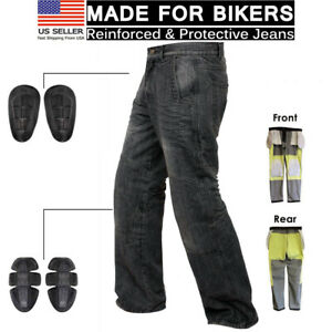 Black-Motorcycle-Motorbike-Knee-Armour-Jeans-Pants-with-Aramid-Protection-Lining
