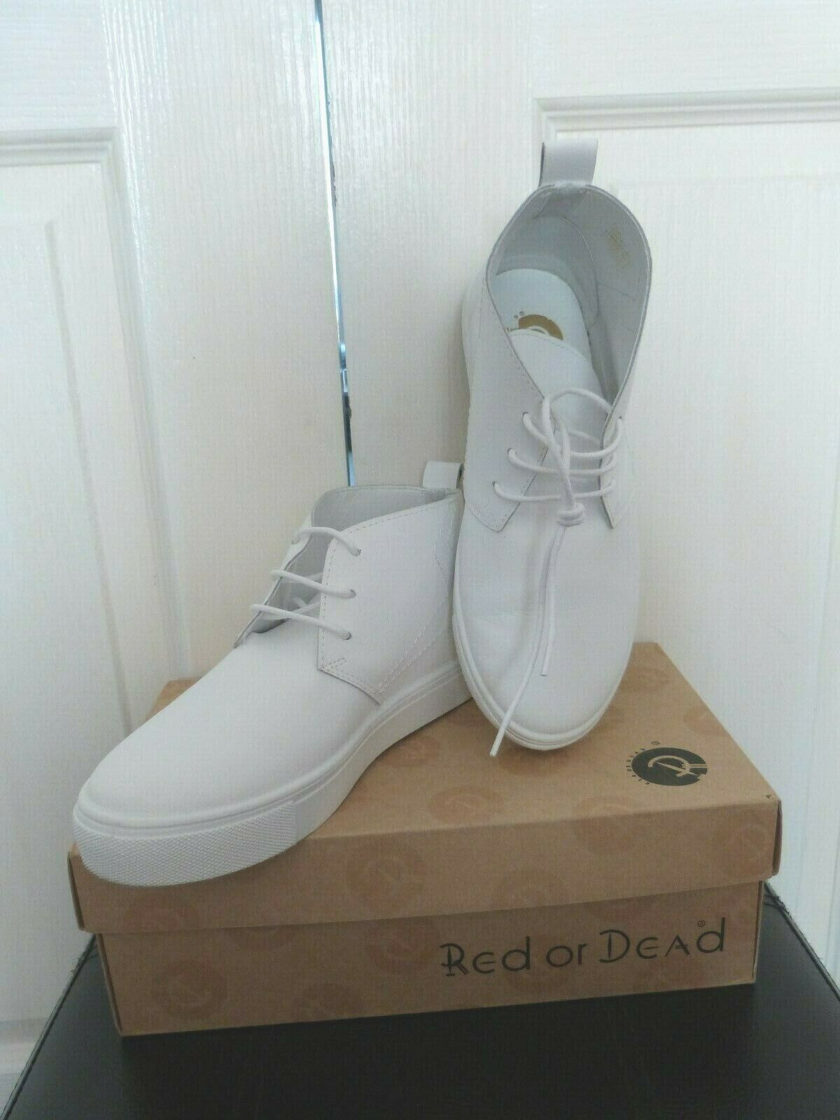Ladies White Leather RED OR DEAD Hi Top Trainer Size 5 (38)