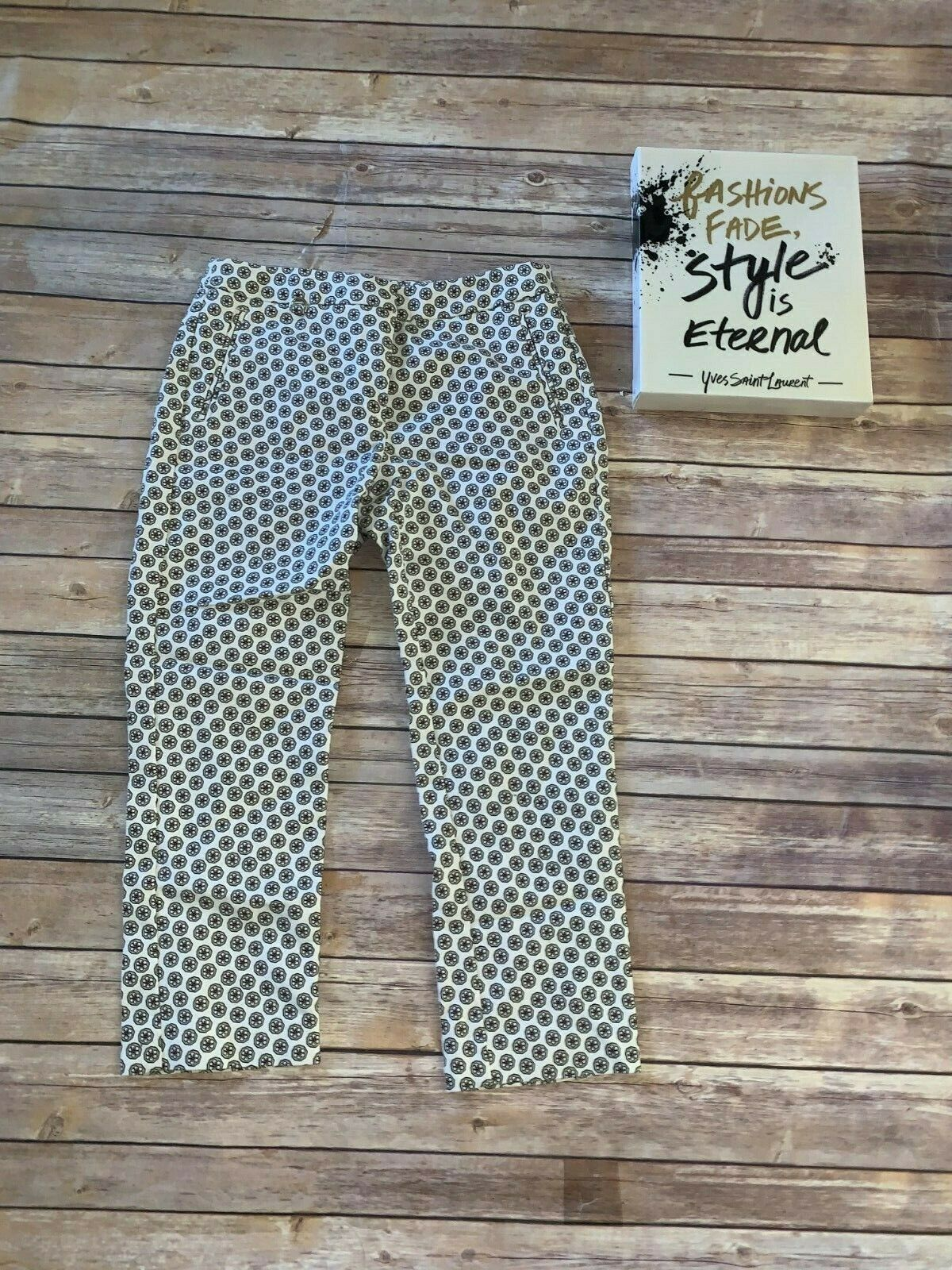 ADRIANNA PAPEL Sz 4 White Brown Red Pants with Floral Print
