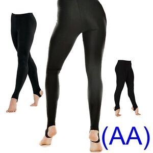 Black-Shiny-Lycra-Stirrup-Dance-Gym-Leggings-ice-leotards-ballet-swim-yoga-AA
