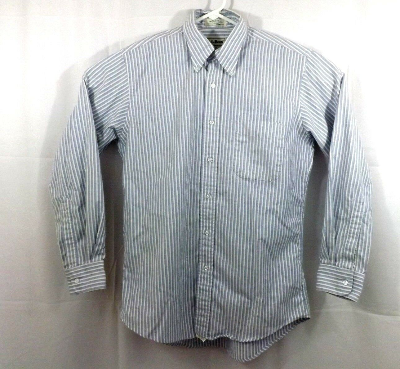LL Bean Button Down Shirt Single Needle Tailoring bluee Stripe 15.5 33 Made in US