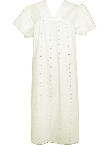 New Ladies Traditional Broderie Anglaise Cotton Rich Short Sleeve Night Dress