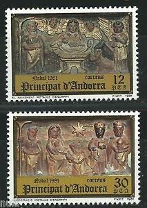 ANDORRA-Edifil-144-145-MNH-Set-Navidad-Christmas-Noel