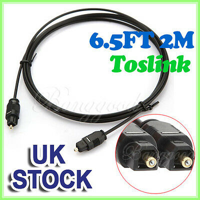 2M Digital Fibre Optical Audio Toslink SPDIF MD DVD Gold Cable Lead Plug UK