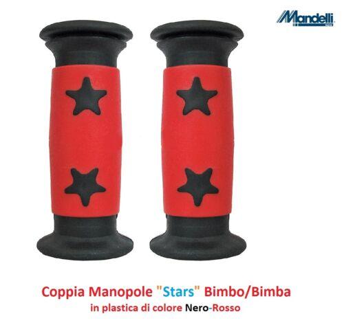 """Coppia Manopole Bimbo//Bimba /""""Stars/"""" colore Rosso//Nero x Bici 14-16-20 Graziella"""