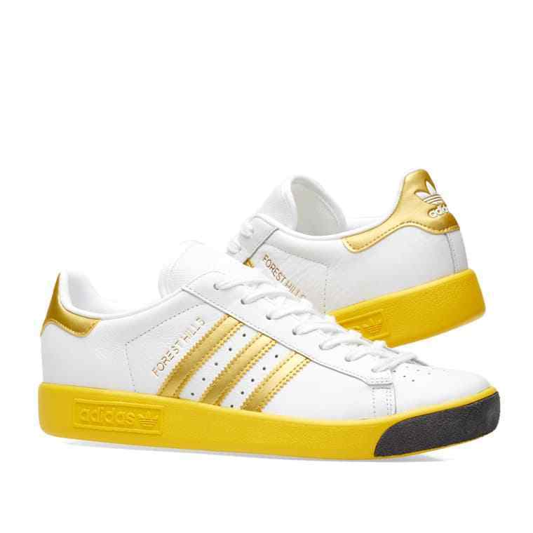 ADIDAS ORIGINALS FOREST HILLS - WHITE WHITE - & YELLOW / YELLOW GOLD - SIZE 11.5 US 2a7903