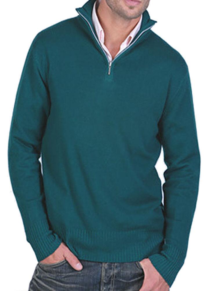 Balldiri 100% Cashmere Cashmere Uomo Pullover Troyer 4 fädig INGLESE verde XL
