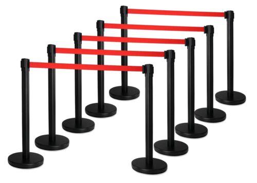 Super repräsentative VIP-Absperrpfosten 10 Ständer mit ausziehbarem Gurt schwarz
