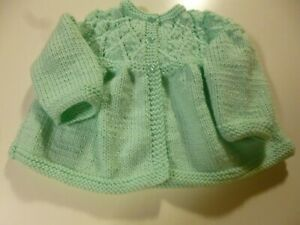 - 1 year Hand Crocheted Baby Sweater and Booties 6 mth Free Shipping Mint