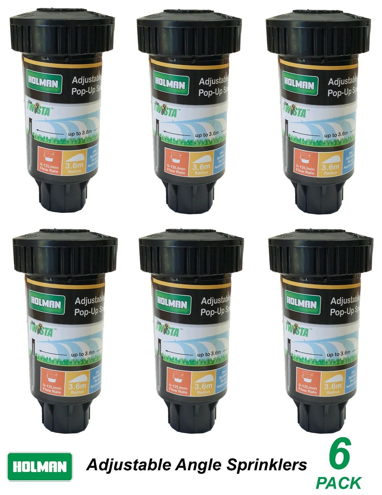 6 Pack x Popup Sprinklers with Adjustable Angle Universal 3.6m Radius Pop-Up