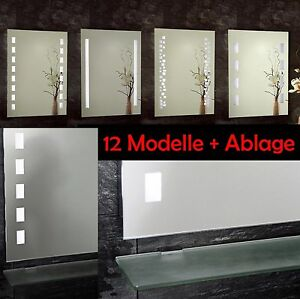 led badspiegel mit ablage badezimmer beleuchtung beleuchtet spiegel glasablage ebay. Black Bedroom Furniture Sets. Home Design Ideas