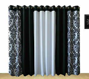RING TOP FULLY LINED PAIR EYELET READY MADE CURTAINS TONE DAMASK - Ready made curtains white