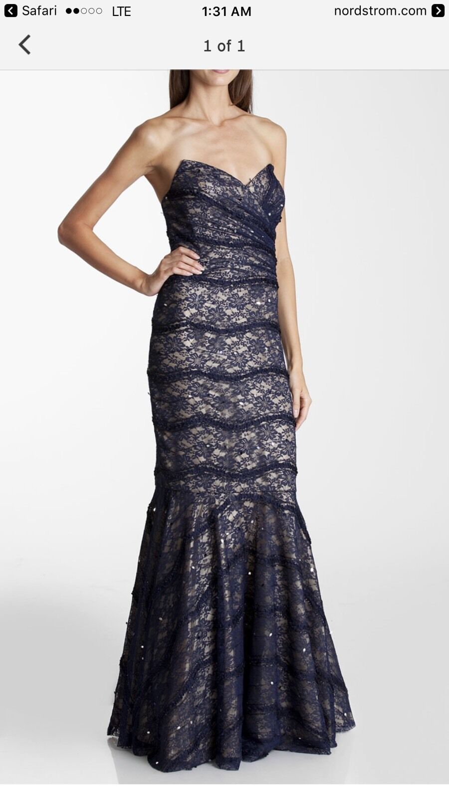 NWT  JS Collections Strapless Lace Trumpet Gown in Navy-Nude [SZ 10 ]  A210