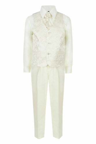 BOYS 5 PIECE HOLY COMMUNION BAPTISM FORMAL IVORY WHITE SUIT 1 TO 15 YRS