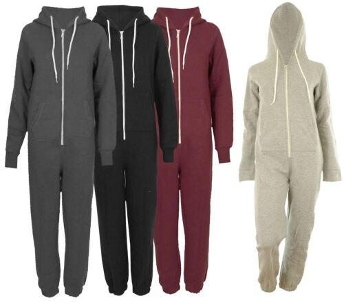 Neue Frauen Langarm Plain Hoodie Front Pockets Onesie All In One Jumpsuits XS-S