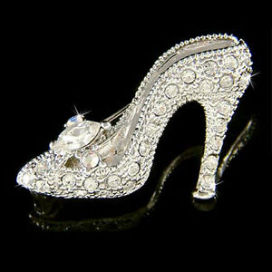 5e3b0365a6ba7 Details about Cinderella Glass Slippers made with Swarovski Crystal High  Heel shoes Pin Brooch