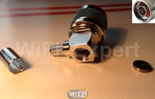 N TYPE RIGHT ANGLE MALE CRIMP CONNECTOR FOR LMR100 LMR195 LMR240 LMR400 RF COAX