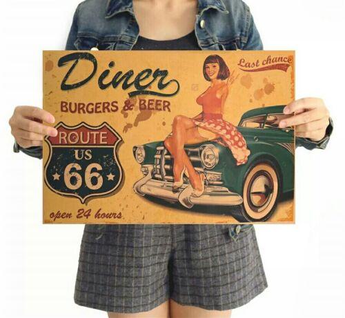 Poster Route 66 USA Bier Vintage Plakat Portrait Bild Wand Deko Kunst tv Neu