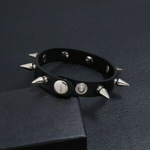 New-Metal-Cone-Stud-Spikes-Rivet-Leather-Biker-Wristband-Wide-Cuff-Punk-Rock