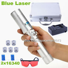 Most Powerful Laser Pointer Focusable Blue Laser Pen Torch Burning Wood 2x16340