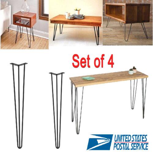 4 Pcs 2830Hairpin Table Legs Heavy Duty Satin Black Steel Rods for Industrial