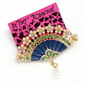 Betsey-Johnson-Women-039-s-Enamel-Pearl-Crystal-Flower-Fan-Charm-Brooch-Pin-Gift