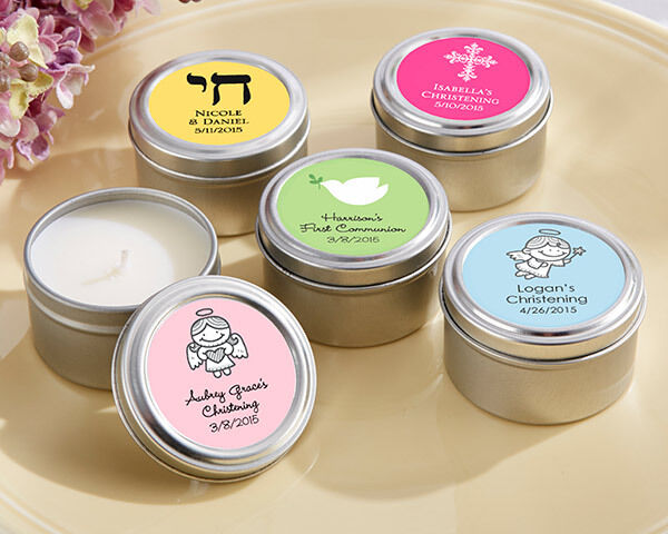 Personalized Candle Tin Baptism Christening Communion Bar Mitzvah Favor 24 to 96