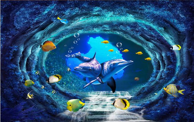 3D Round Cave Cave Cave Dolphin 87 Floor WallPaper Murals Wall Print Decal AJ WALLPAPER US 7d64b9