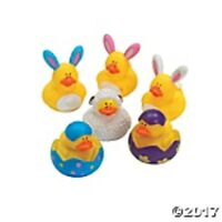 Set Of 12 Easter Rubber Duckies Bunnies Lamb Chicks Party Favors Set