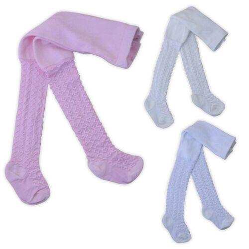 Bebé Niñas Medias 1 Pack Rosa Blanco o Crema Corazón y diseño de diamante