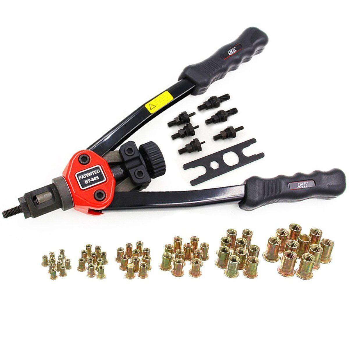 13  Hand Gun Riveter Kit Tool Pop Sheet Metal Threaded Nut Garage Car Jeep Auto
