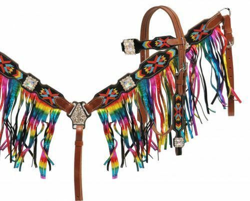 mostrareuomo NAVAJO Embroiderosso Bridle Mettuttiic RAINBOW FRINGE Breastcollar Rein SET