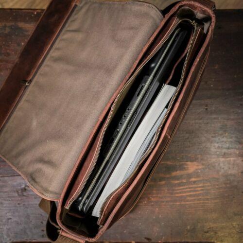 Buffalo Leather Messenger Bag Mens Laptop Satchel Computer Shoulder Bag Vintage