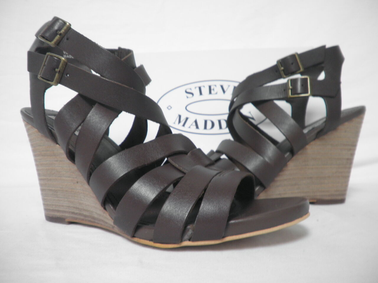 Steve Steve Steve Madden Size 10 M Venis Chocolate Leather Open Toe Wedges New Womens shoes db2262