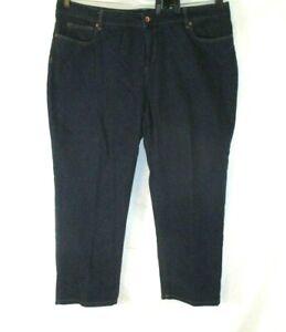 Lands-039-End-Straight-Leg-Jeans-Sz-22W-Dark-Blue-Denim-Flat-Front-Women-H627