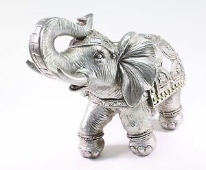 Feng Shui 13 Silver Large Elephant Trunk Statue Lucky Figurine Gift