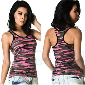 COQUETA-fashion-sexy-womens-sport-shirt-camouflage-PINK-black-TANK-TOP-stretch