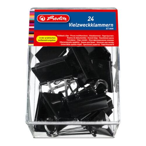24 Herlitz Foldbackklammern schwarz Farbe Vielzweckklammern 41mm
