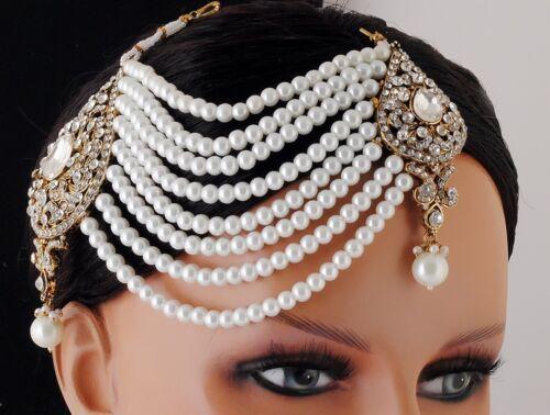 Gold Plated Designer Matha Patti Maang Tikka Forehead Head Piece jhumar passa .