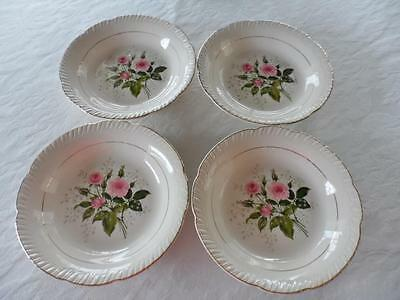 "Lot 4-Coupe Soup Bowls 8""-American Limoges China ""CATHY R2 ~Pink Roses~22K Gold"