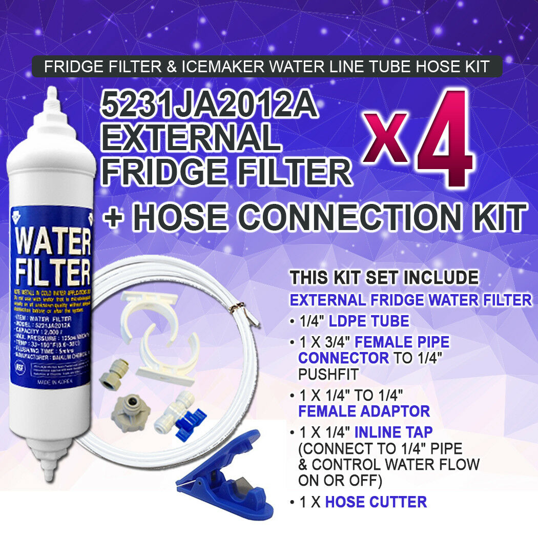 4X 5231JA2012A LG Fridge Filter Genuine External fridge filter Hose(5M) Kit