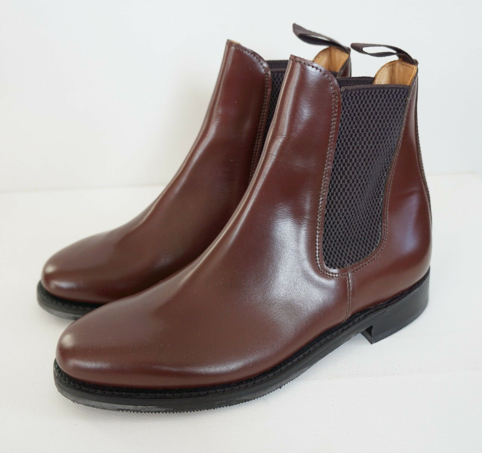 Made in Hamptonshire ENGLAND Brown Leather Plain CHELSEA Boots US-7.5