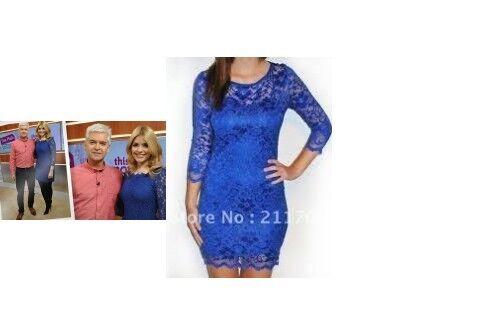 Style Célébrité Taille UK 8 /& 10 Robe dentelle bleu royal col rond floral slash