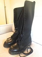 TREDAIR 20-HOLE BLACK LEATHER BOOTS (11)  MADE IN ENGLAND WORN ONCE TRED AIR